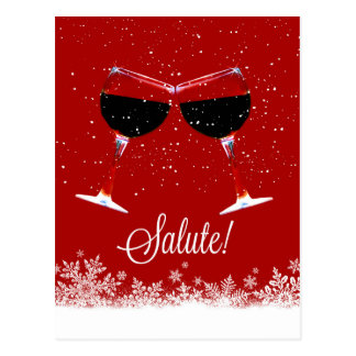 Wine Cheers, Salute Holiday Postcard
