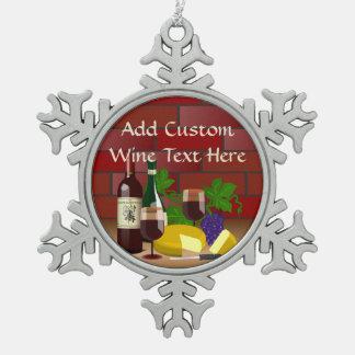 Wine Cheese Kitchen Scene Pewter Snowflake Decoration