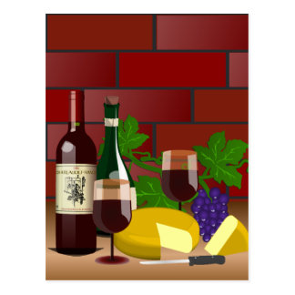 Wine Cheese Table Scene Post Cards