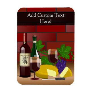 Wine Cheese Table Scene Rectangular Photo Magnet