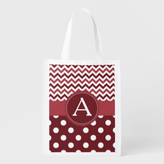 Wine Chevron Polka Dot Reusable Grocery Bag