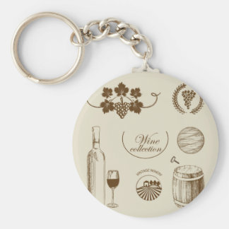 Wine Collection Basic Round Button Key Ring