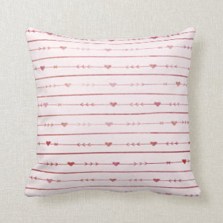 Wine-Colored Hearts and Arrows Cushion