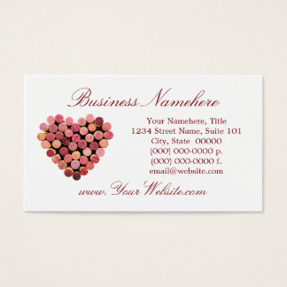 Wine Cork Heart Business Cards