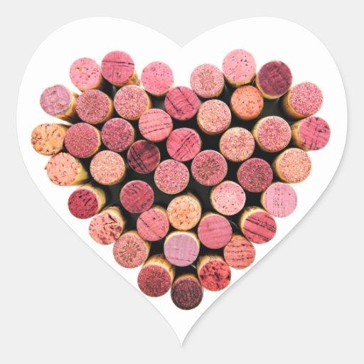 Wine Cork Heart Stickers