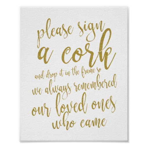 Wine Cork Wedding Guest Book Gold 8x10 Sign