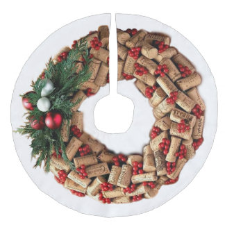 Wine Cork Wreath with Evergreen Faux Linen Tree Skirt
