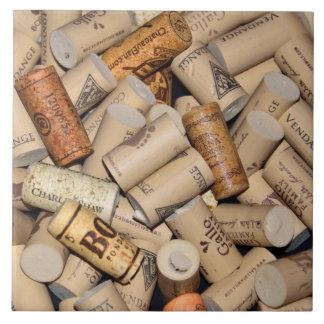 Wine corks background large square tile
