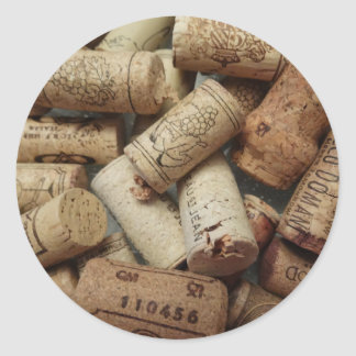 Wine Corks Classic Round Sticker