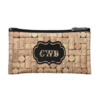 Wine Corks Monogrammed Bag Cosmetics Bags