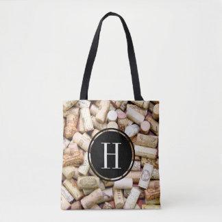 Wine Corks Monogrammed Tote Bag