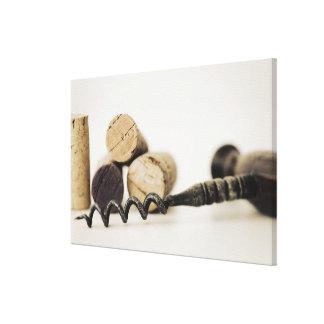 Wine corks with corkscrew canvas print