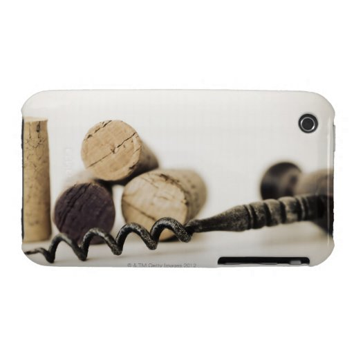 Wine corks with corkscrew iPhone 3 case