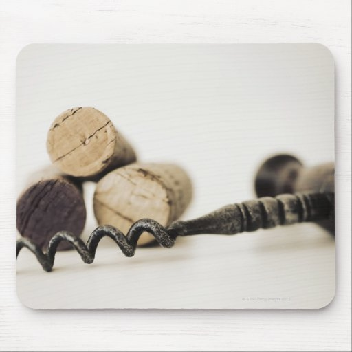 Wine corks with corkscrew mouse pads