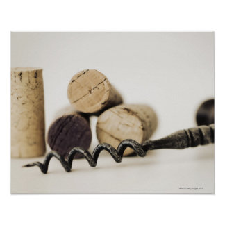 Wine corks with corkscrew poster
