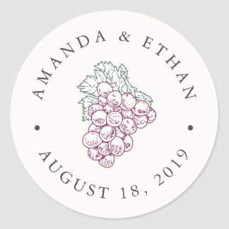 Wine Country | Wedding Favor Round Sticker