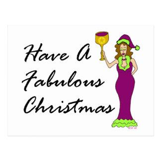 Wine Diva Fabulous Christmas Post Cards