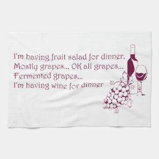 Wine for dinner tea towel