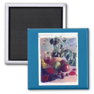 wine, fruit,cherries square magnet
