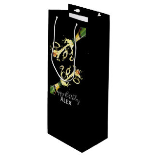 Wine Gift Bag-Champagne Splash-Happy Birthday Wine Gift Bag