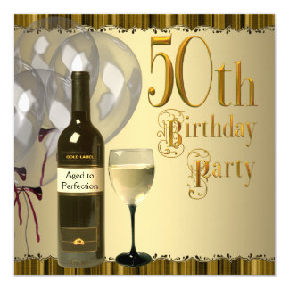 Wine Glass Bottle Gold 50th Birthday Party 13 Cm X 13 Cm Square Invitation Card