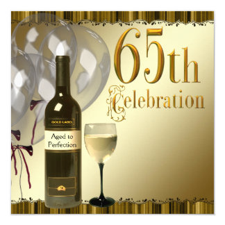 Wine Glass Bottle Gold 65th Birthday Party Card