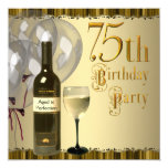 Wine Glass Bottle Gold 75th Birthday Party Custom Invitations