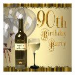 Wine Glass Bottle Gold 90th Birthday Party Custom Invite