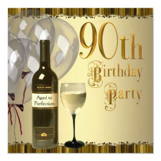 Wine Glass Bottle Gold 90th Birthday Party Custom Invitation