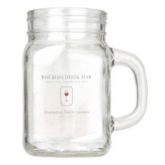 Wine Glass Lifting Team Customizable Mason Jar