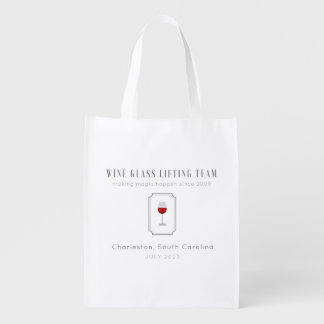 Wine Glass Lifting Team Customizable Reusable Grocery Bag