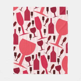 Wine glass pattern fleece blanket