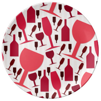 Wine glass pattern porcelain plates