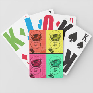 Wine Glass Retro 60s Print Bicycle Playing Cards