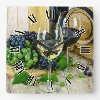 Wine Glass Roman Numerals Design Square Wall Clock