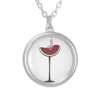 Wine glass silver plated necklace