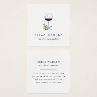 Wine Glass   Sommelier or Wine Industry Square Business Card