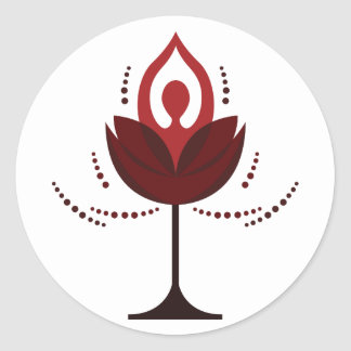 Wine Glass with Yoga Round Sticker