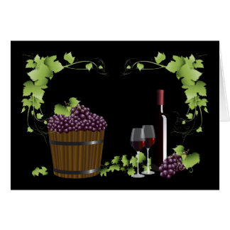 Wine glasses and wine barrel card