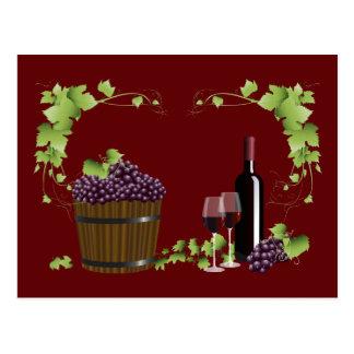Wine glasses and wine barrel postcard