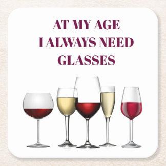 Wine glasses expression square paper coaster