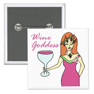 Wine Goddess Pink Ribbon Breast Cancer Awareness 15 Cm Square Badge