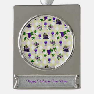 Wine, Grapes, and Jelly Silver Plated Banner Ornament