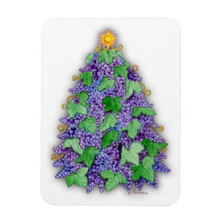 Wine Grapes Christmas Tree Rectangular Photo Magnet