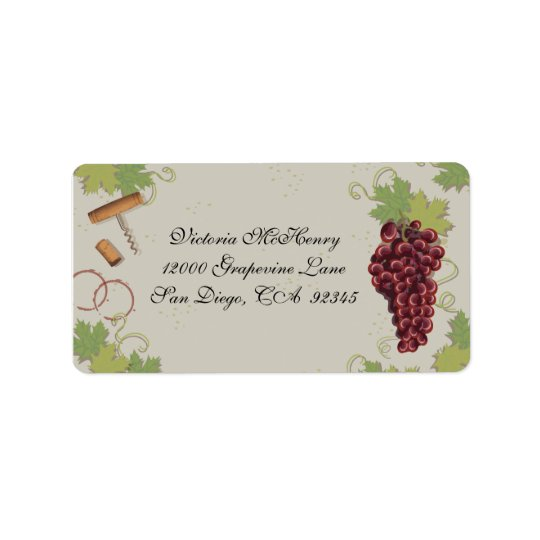 Wine, Grapes, Cork Screw and Cork on VIntage Paper Label