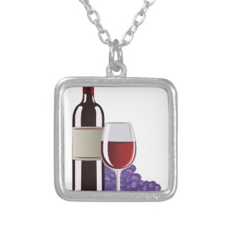 Wine & Grapes Silver Plated Necklace