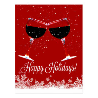 Wine Happy Holidays in the Snow Postcards