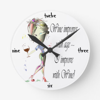 Wine improves with age, humorous art gifts round clock