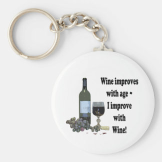 Wine improves with age, I improve with Wine! Basic Round Button Key Ring