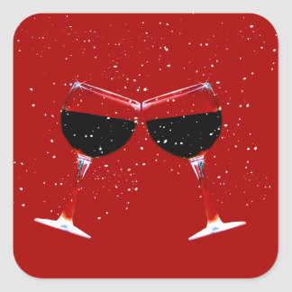 Wine in the Snow Holiday Stickers